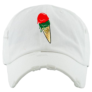 Dad Hat ICE CREAM (Drip Drip) - White w/ Red & Green
