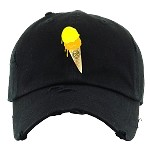Dad Hat ICE CREAM - Black w/ Yellow