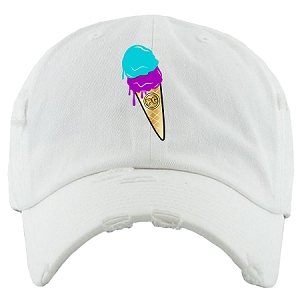 Dad Hat ICE CREAM - White w/ Purple