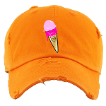 Dad Hat ICE CREAM (Drip Drip) - Orange w/ Pink