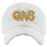 Dad Hat GAS - White w/ Gold