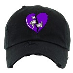 Dad Hat HEART - Black w/ Purple