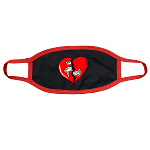 Face Mask HEART - Black w/ Red