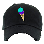 Dad Hat ICE CREAM - Black w/ Purple & Aqua