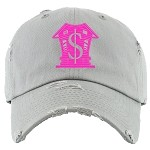 Dad Hat TRAPPA - Light Gray w/ Hot Pink